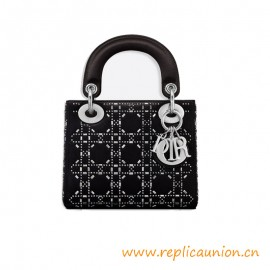 Top Quality Mini Bag in Black Cannage Satin with Rhinestones