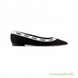 Top Quality Ballerina Flat Black Embroidered Cotton