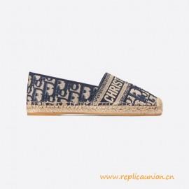 Top Quality Deep Blue Granville Oblique Embroidered Cotton Espadrille