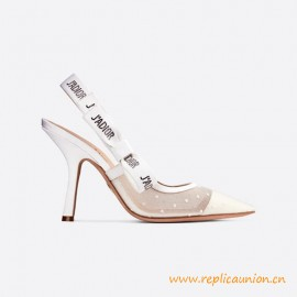 Top Quality White Slingback Plumetis Pump Cotton Ribbon with Strass