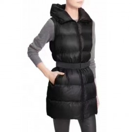 Black Long Vest in ultra-lightweight Padded Nylon Glykeria Vests