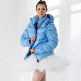 Jacket in Lacquered Nylon The Classic Maya Sky Blue ICONS Down Jackets