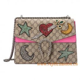 Original Quality Dionysus Shoulder Bag with Pink Suede Detail
