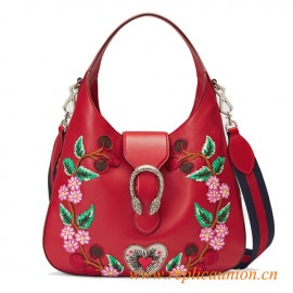 Original Design Dionysus Embroidered Leather Hobo Women's Shoulder Bag