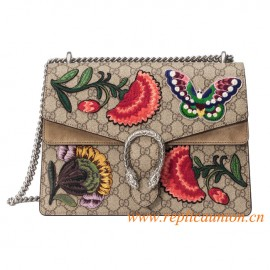 Original Quality Dionysus Supreme Canvas Shoulder Bag with Butterfly and Flowers