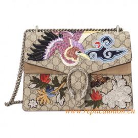 Original Quality Dionysus Supreme Canvas Shoulder Bag with Bird and Flowers