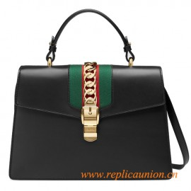 Original Sylvie Leather Top Handle Bag with a Gold Chain and Buckle