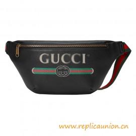 Top Quality G Logo Print Black Leather Belt Bag