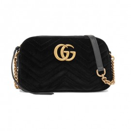 Top Quality Marmont Small Leather-trimmed Velvet Shoulder Bag