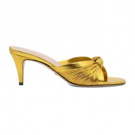 Top Quality Metallic Leather Mid-heel Sandal