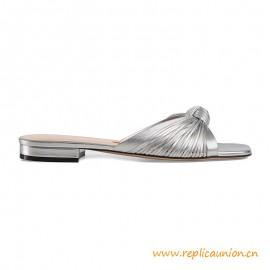 Top Quality Metallic Leather Slide Summer Sandal