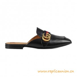 Top Quality Leather Slipper with Blue and Red Web Gold-toned Hardware