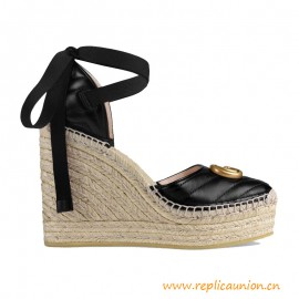 Top Quality Marmont Leather Wedge Espadrilles Black Leather