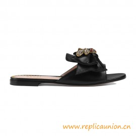 Authentic Design Quality Leather Slide with Bow Women Sandals