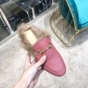 Top Quality Black Leather Princetown Leather Slipper with Fur