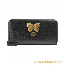 Top Quality Leather Zip around Wallet with Butterfly