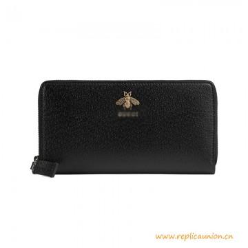 Top Quality Animalier Leather Zip around Wallet Metal Bee