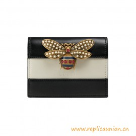Top Quality Queen Margaret Leather Card Case Metal Bee