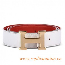 Original Design Quality Reversible Leather Belt White Red with H Buckle