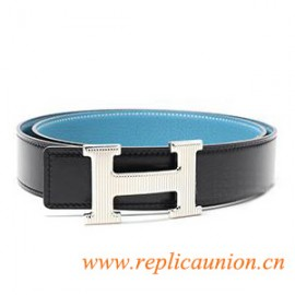 Originale in pelle di qualità Costanza Cinture Blu con Caustico H Fibbia