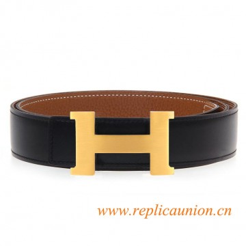 Original Clemence Brown Leather Belt with 38mm Width H Buckle