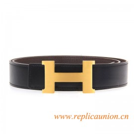 Original Clemence Dark Coffee Leather Belt with 38mm Width H Buckle