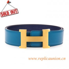 Original Clemence Lighting Blue Reversible Leather Belt with 44mm Width H Buckle