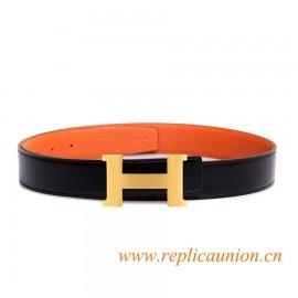 Original Clemence Orange Leather Belt with 44mm Width H Buckle
