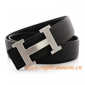 Original Design Quality Clemence Black Leather Belt with Black Stitching
