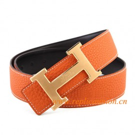 a156454b2 Original Quality Clemence Reversible Orange Leather Belt H Buckle with  He*rm*es Logo