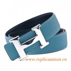 Original couro de qualidade Constance Cintos Azul com polido H Fivela