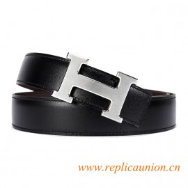 Original Design Quality Clemence Reversible Leather Belt Coffee with 30mm H Buckle