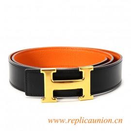 Original Clemence Orange Leather Belt Orange Stitching with Polished H Buckle