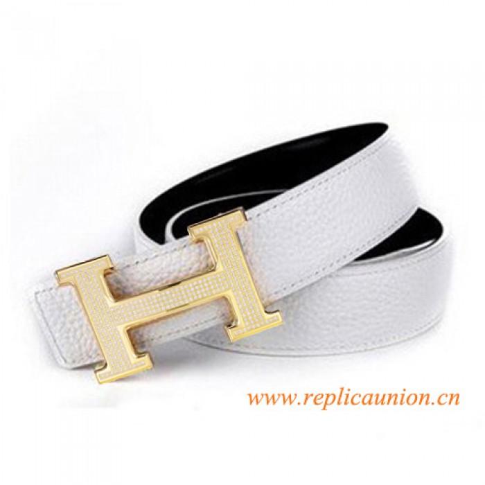 6b019af0738 Cinto de Couro Branco Qualidade Original Com Cheios Diamantes H Fivela