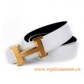 Original Design Quality Clemence Reversible Leather Belt Snow White with H Buckle