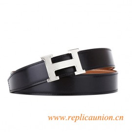 Original Quality Brown Leather Belt with Guillochee H Buckle