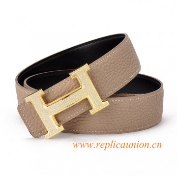 Original Clemence Grey Leather Belt with Full Diamonds H Buckle
