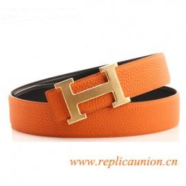 Original Design Quality Clemence Reversible Orange Leather Belt with Orange Stitching