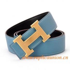 Original couro de Qualidade Constance Céu azul Cintos com H Fivela