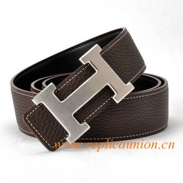 Original Design Quality Constance Leather Belt Coffee with H Buckle