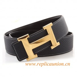 Original Design Quality Clemence Reversible Leather Belt Navy Blue with Polished H Buckle
