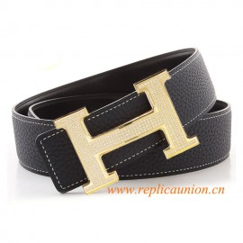 designer hermes belts tvdt  Original Quality Navy Blue Leather Belt with Full Diamonds H Buckle