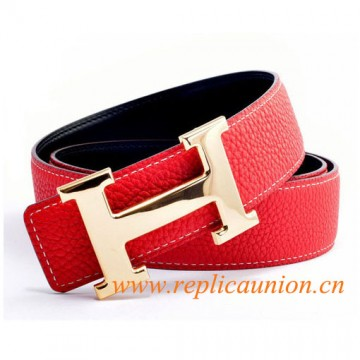 Original Design Quality Clemence Reversible Leather Belt Sao Red with H Buckle