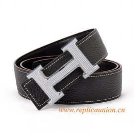 Original Design Quality Clemence Leather Belt Charm Black with Full Diamonds H Buckle