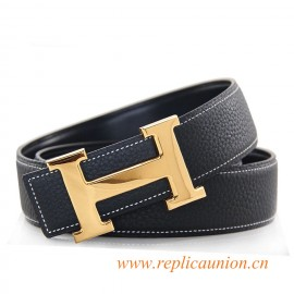 Original Design Clemence Leather Belt Charm Black with Polished H Buckle