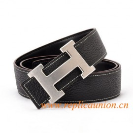 Original Design Quality Clemence Reversible Leather Belt Charm Black with H Buckle