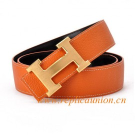 Original Design Quality Clemence Reversible Leather Belt Orange with H Buckle