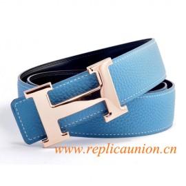 Original Qualität Constance Ledergürtel Blau mit Rose Gold Polierte H Schnalle