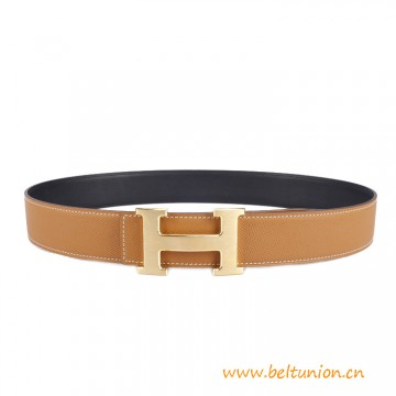 H Reversible Leather Belt in Swift calfskin with H Buckle