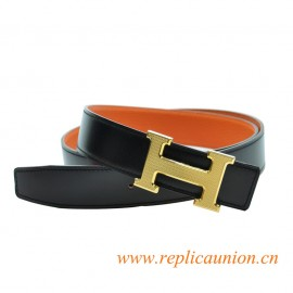 Original Clemence Orange Leather Belt Orange Stitching with Guillochee H Buckle